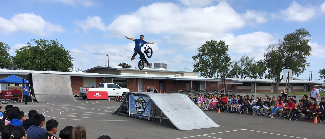 Thomas Paine students were captivated, as professional BMX riders performed amazing tricks and delivered powerful messages of motivation and respecting others.